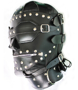 Gothic-Black-Full-Leather-Hood-with-Collar-Zip-Lock-1